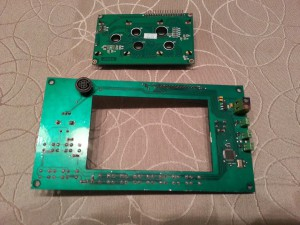 Controller PCB and LCD module. Back side.