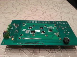 Controller PCB with the LCD module slotted in. Back side.